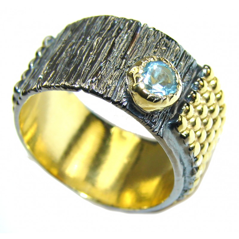 Delicate Swiss Blue Topaz , Rhodium Plated, Gold Plated Sterling Silver Ring s. 8