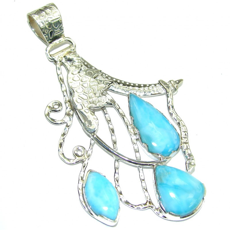 Big! Secret AAA Blue Larimar Sterling Silver Pendant