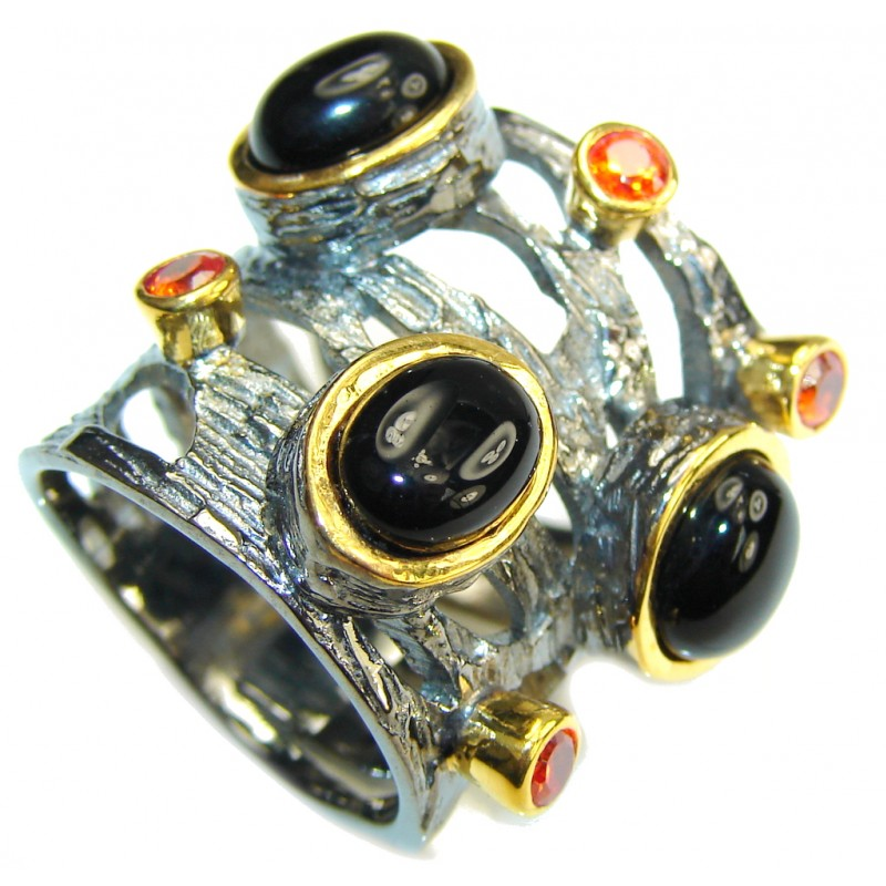 Self Confidence! AAA Black Onyx, Gold Plated, Rhodium Plated Sterling Silver Ring s. 7