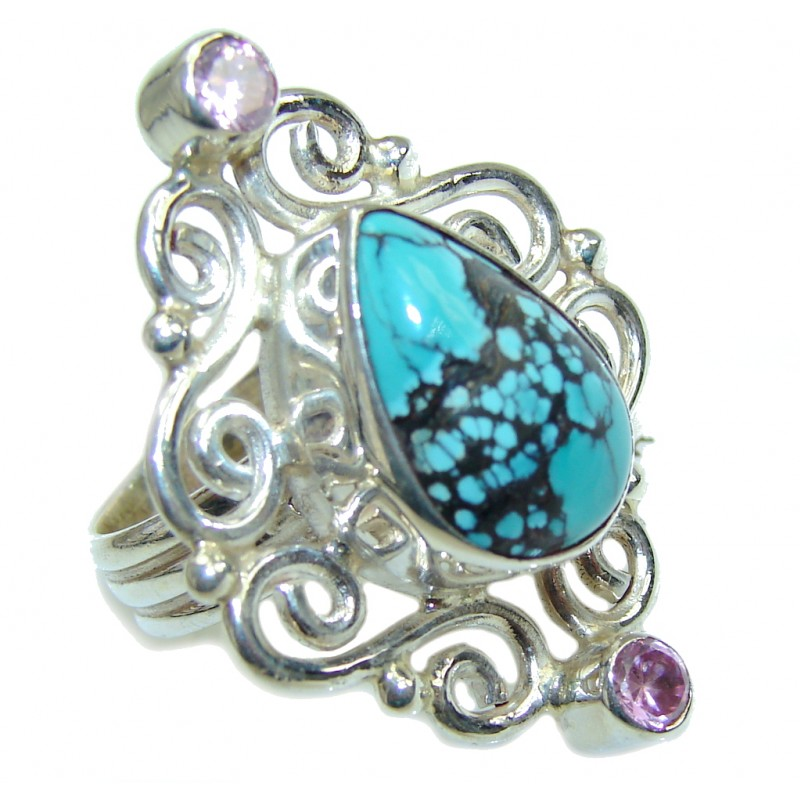 Fantastic Blue Turquoise & Pink Topaz Sterling Silver ring s. 7