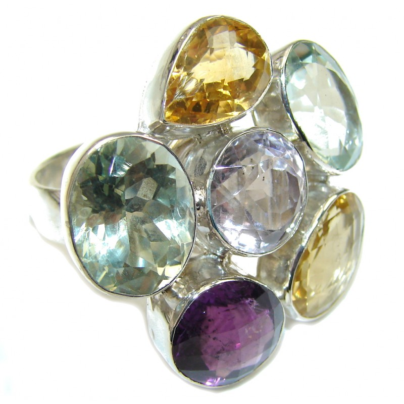 Big! Pale Beauty! Green & Purple Amethyst Sterling Silver ring s. 10