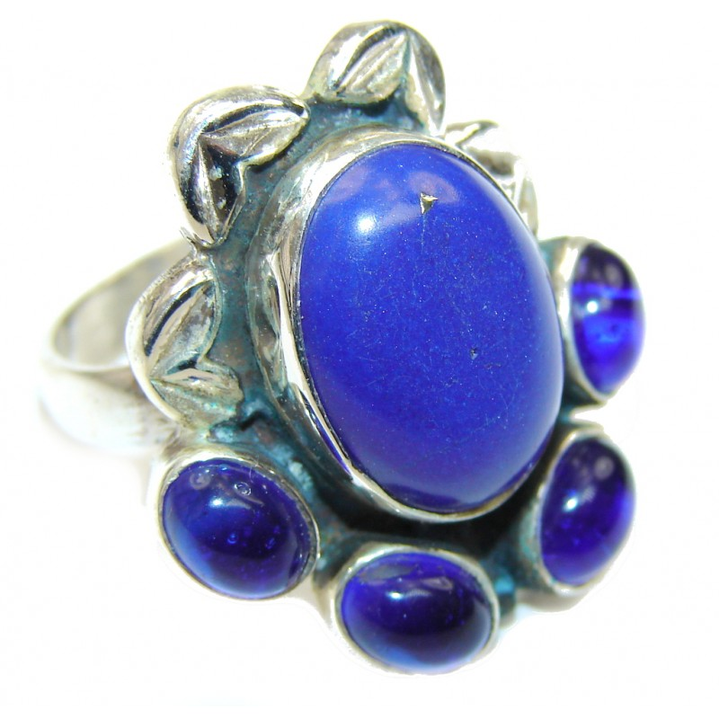 Royal Blue Lapis Lazuli & Blue Quartz Sterling Silver Ring s. 8