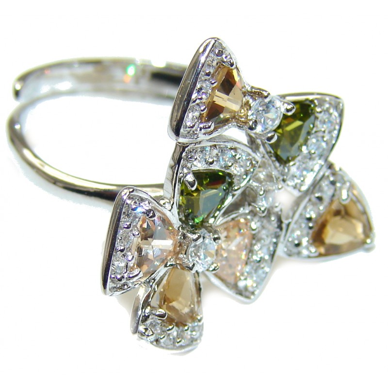Perfect! Golden Topaz Quartz Sterling Silver Ring s. 8 - adjustable