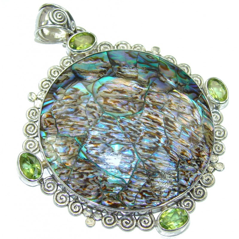 Secret Vision! Rainbow Abalone Sterling Silver Pendant