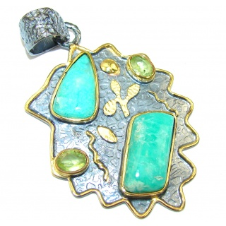 Beautiful! AAA Amazonite, Gold Plated, Rhodium Plated Sterling Silver Pendant