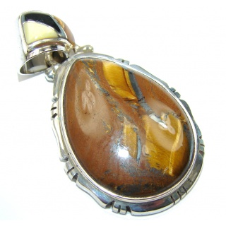 Amazing AAA Brown Tigers Eye Sterling Silver Pendant