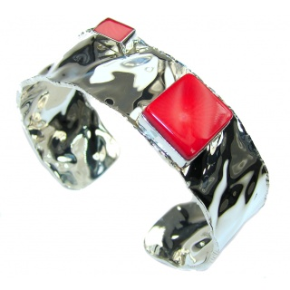 Falling In Love! Red Fossilized Coral Sterling Silver Bracelet/ Cuff