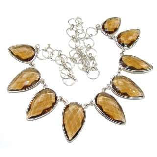 Duality In Brown! Light Smoky Topaz Sterling Silver necklace