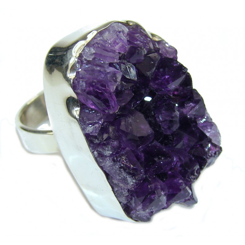 Large! Energy Flowing In Your Home! Amethyst Cluster Sterling Silver Ring s. 9