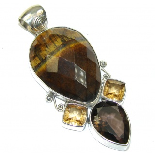 Secret Vision! Brown Tigers Eye Sterling Silver Pendant