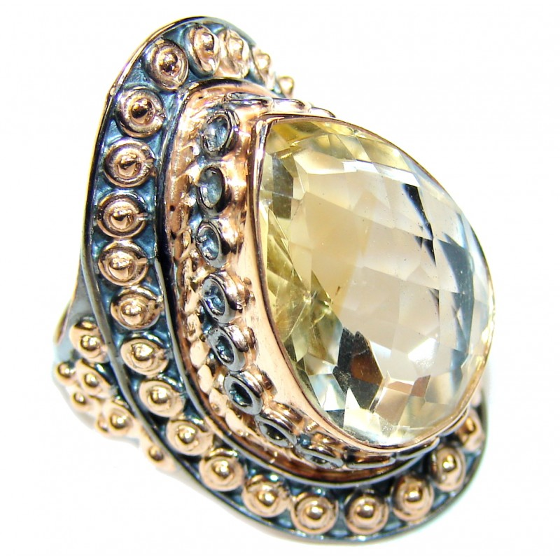 Bali Secret! AAA Citrine, Rose Gold Plated, Rhodium Plated Sterling Silver Ring s. 6 1/2