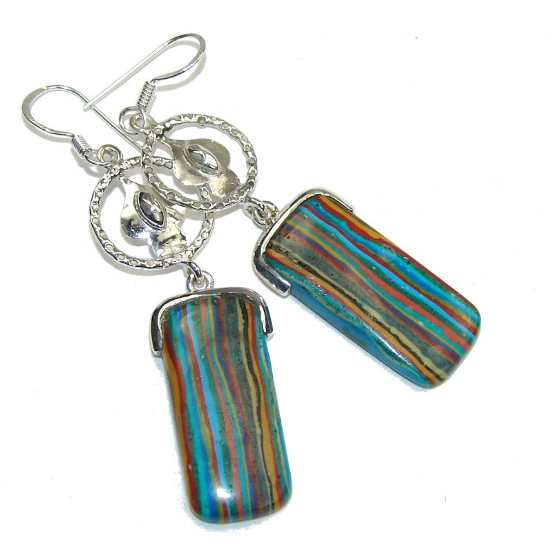 Fabulous Style! Rainbow Calsilica Sterling Silver earrings