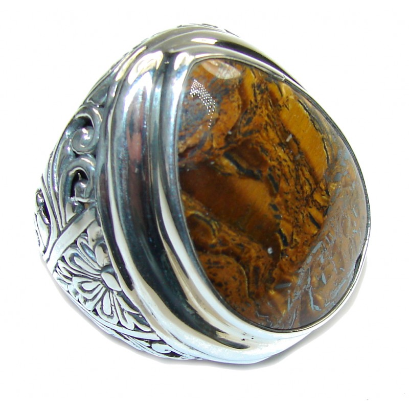 Bali Collection Gaint AAA Brown Tigers Eye Sterling Silver Ring s. 9