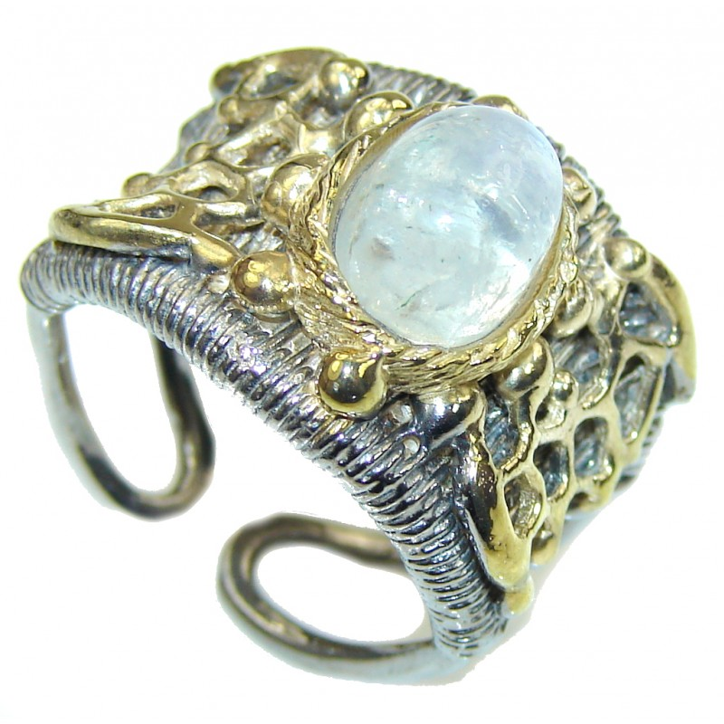 Weaving Light! White Moonstone, Two Tones Sterling Silver ring s. 8 - adjustable