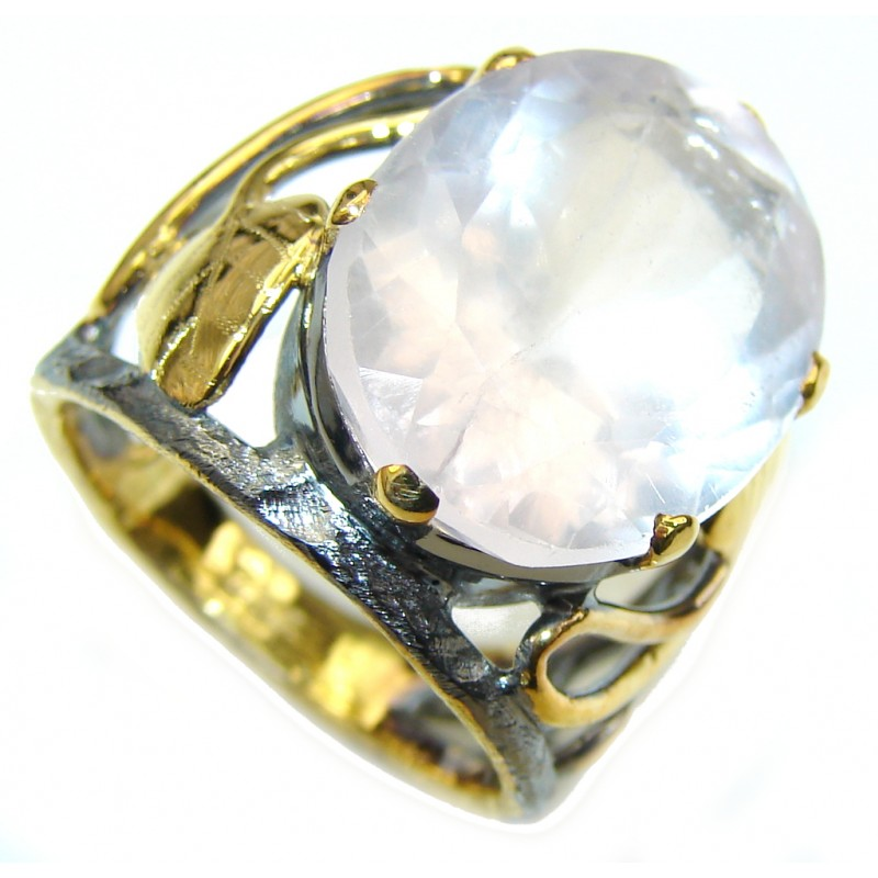 California Style! AAA Rose Quartz, Gold Plated, Rhodium Plated Sterling Silver Ring s. 7 1/2