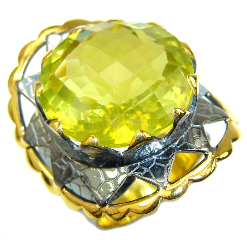 Big! Mystic Eye! AAA Citrine Quartz, Gold Plated, Rhodium Plated Sterling Silver Ring s. 8