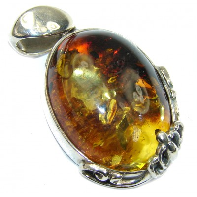 True Emotion! Baltic Polish Amber Sterling Silver Pendant