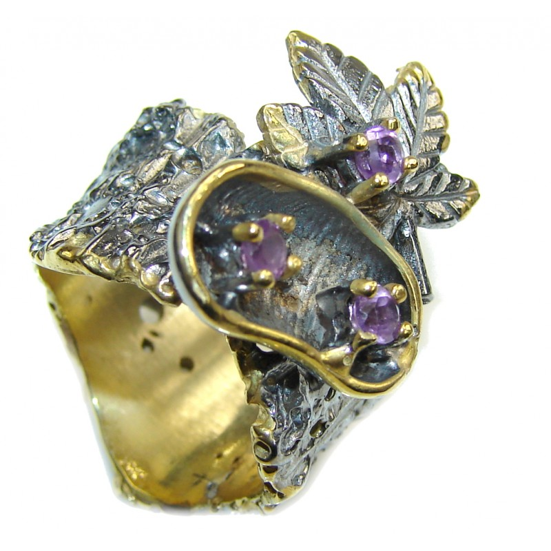 Stylish Purple Amethyst, Gold Plated, Rhodium Plated Sterling Silver ring s. 7