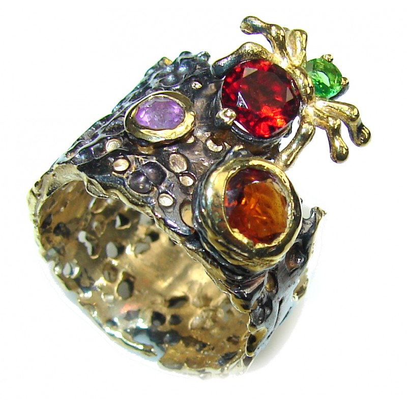 Amazing! Amethyst & Garnet & Peridot, Gold Plated, Rhodium Plated Sterling Silver ring s. 7