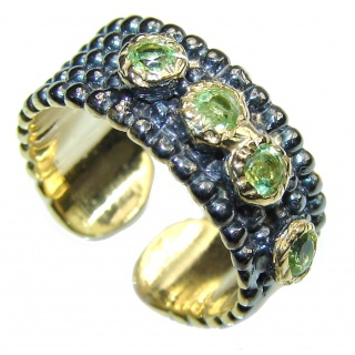 Natural Green Peridot, Gold Plated, Rhodium Plated Sterling Silver ring s. 7