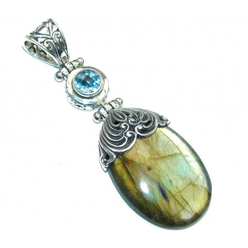 Big! Bali Secret! AAA Blue Labradorite & Swiss Blue Topaz Sterling Silver Pendant