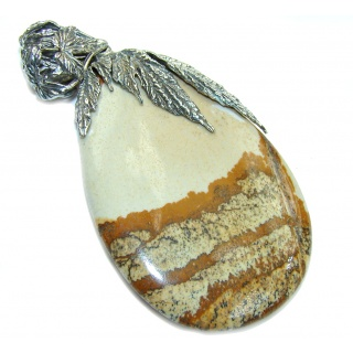 Big! Incredible AAA Picture Jasper Sterling Silver Pendant