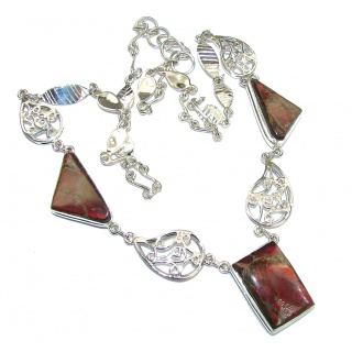 Promise Of Love!! Red Ammolite Sterling Silver necklace