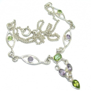 Path Of Life!! Green Peridot & Amethyst Sterling Silver Necklace