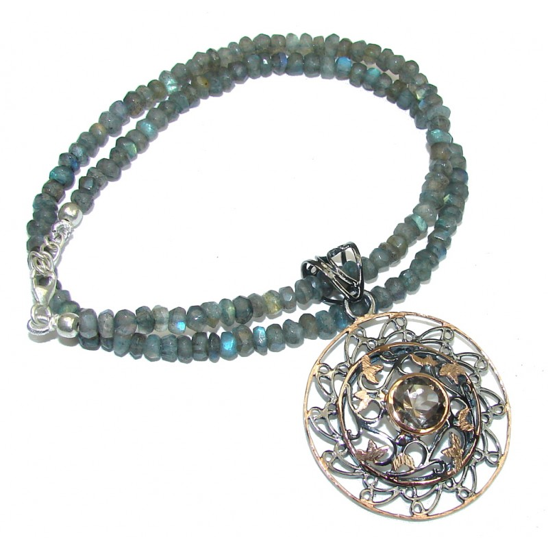 Natural Beauty! AAA Smoky Topaz & Labradorite, Rose Gold Plated, Rhodium Plated Sterling Silver necklace