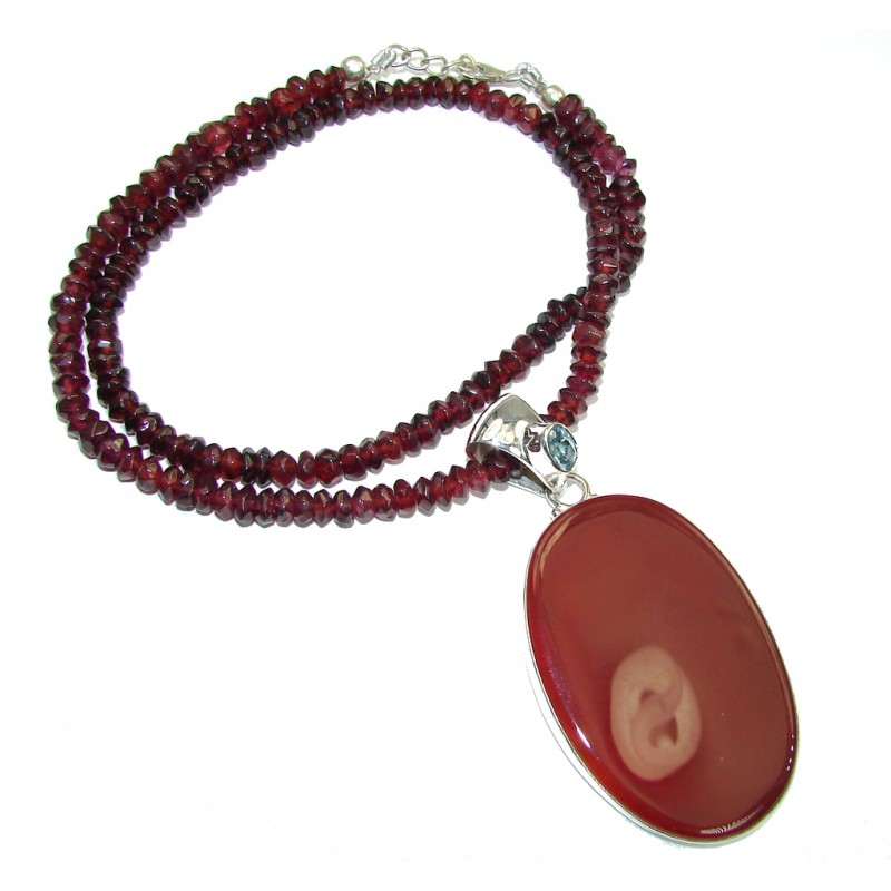 Fashion Design! Brown Agate & Garnet Sterling Silver necklace