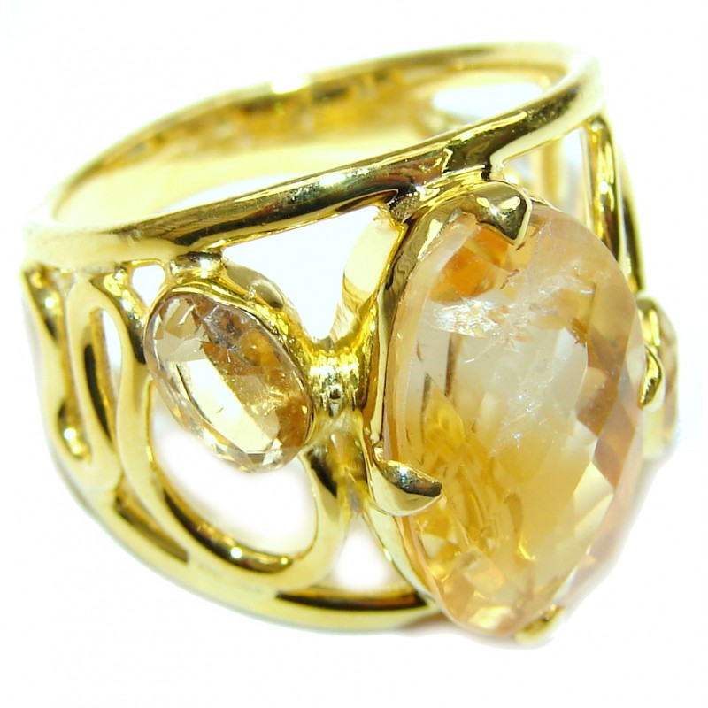 Yellow Aura! AAA Citrine Sterling Silver Ring s. 6