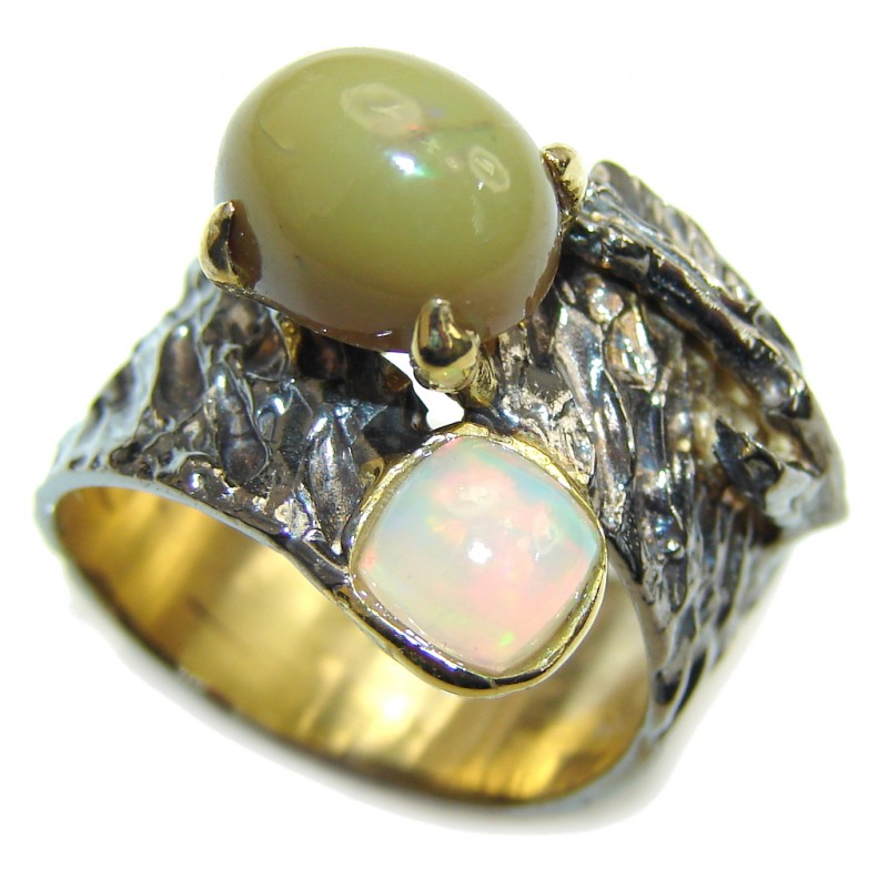 Fashion Ethiopia Fire Opal, Gold Plated, Rhodium Plated Sterling Silver ring s. 7