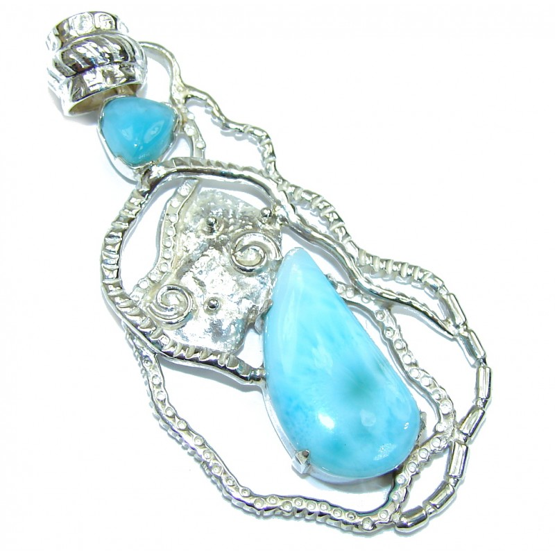 Touch Of Life!! AAA Blue Larimar Sterling Silver Pendant