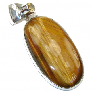 Excellent Tigers Eye & Citrine Sterling Silver Pendant