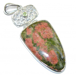 Green Exotic! Russian Unakite Sterling Silver Pendant