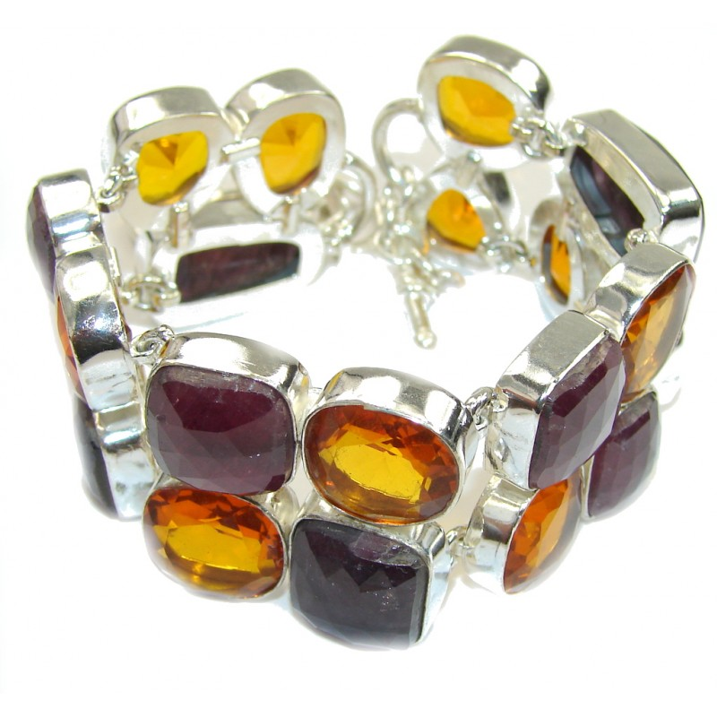 Store Of Love! Red Ruby & Created Golden Topaz Sterling Silver Bracelet