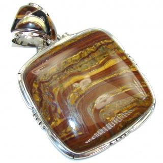 Big! Duality In Brown! AAA Brown Tigers Eye Sterling Silver Pendant