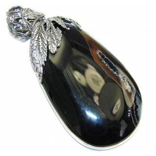 Big! Pale Beauty! Black Botswana Agate Sterling Silver Pendant
