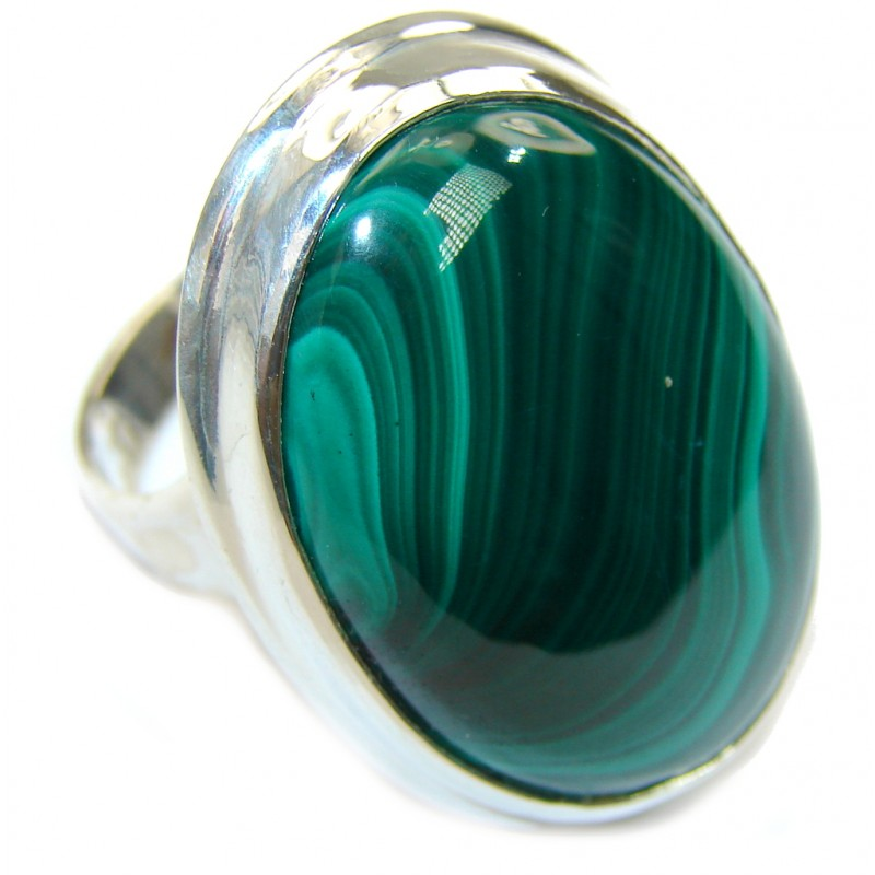 Perfect AAA Green Malachite Sterling Silver ring s. 8 1/4