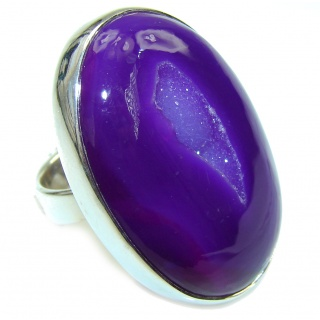 Secret Purle Agate Druzy Sterling Silver Ring s. 6 1/4