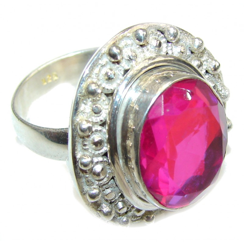 Tropical Glow! Pink Dichroid Glass Sterling Silver Ring s. 11