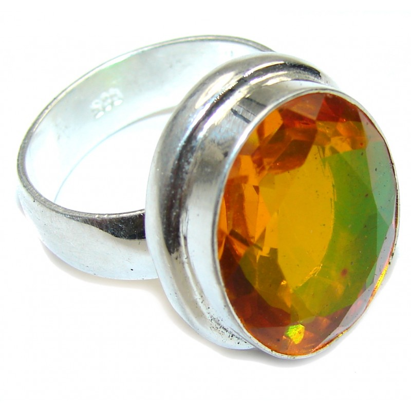 Exotic Orange Dichroid Glass Sterling Silver Ring s. 12
