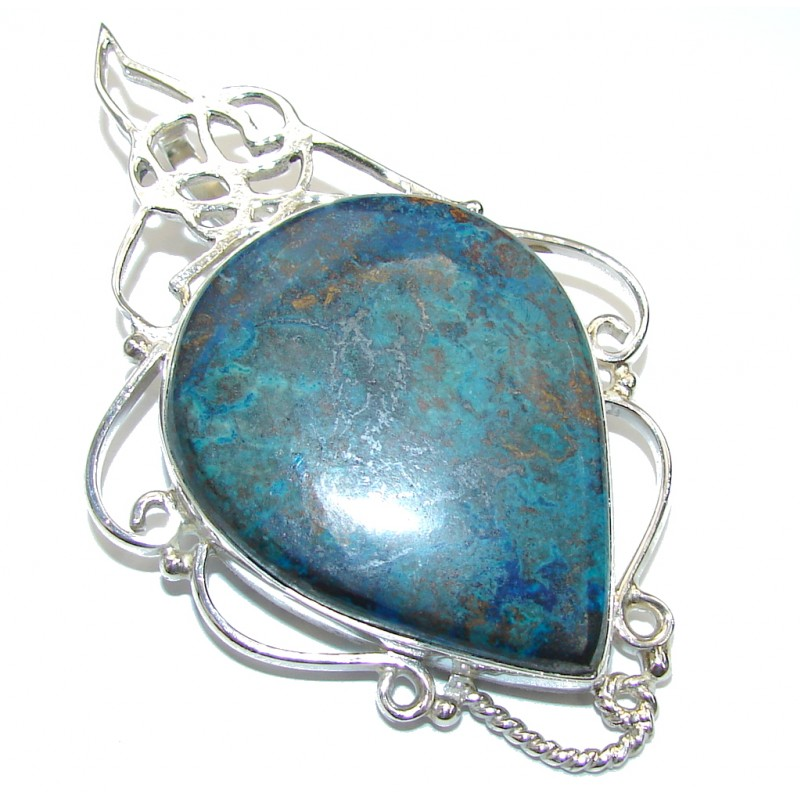 Natural Unpolished Blue Azurite Sterling Silver Pendant