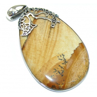 Big! Incredible Design AAA Picture Jasper Sterling Silver Pendant