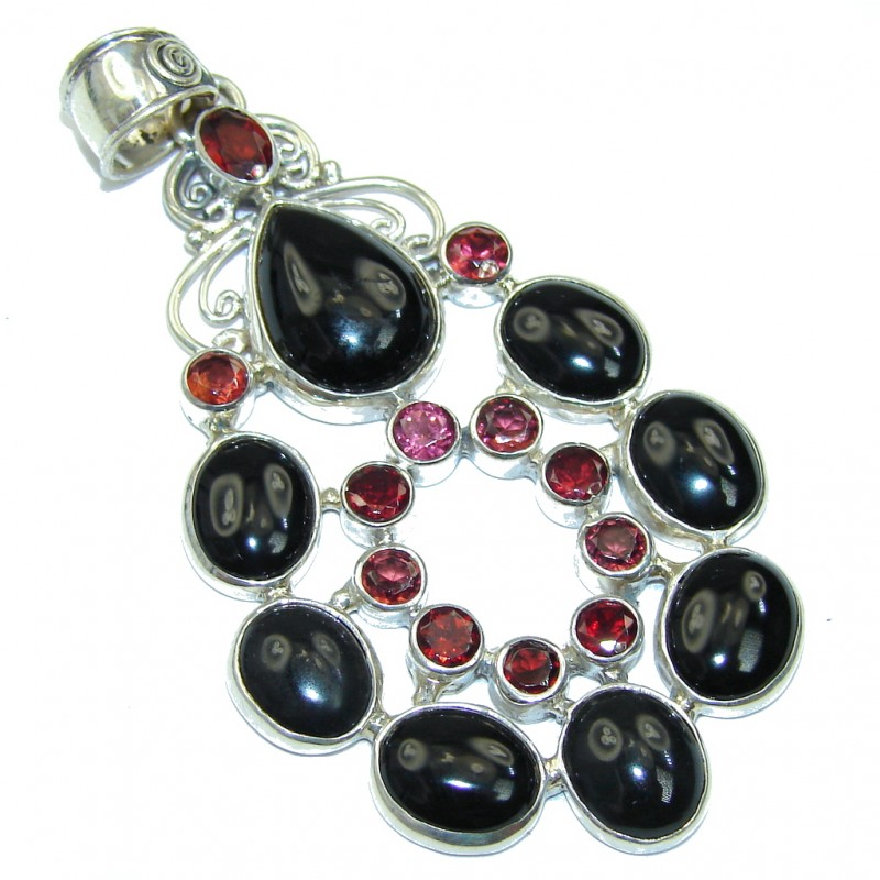 Perfect Black Onyx & Garnet Sterling Silver Pendant