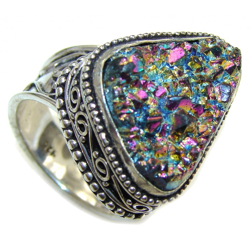 Classy Rainbow Titanium Druzy Sterling Silver Ring s. 10