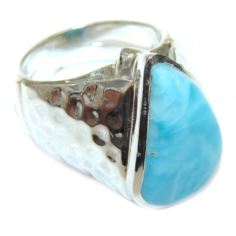 Mystic Sky! AAA Blue Larimar Sterling Silver Ring s. 9
