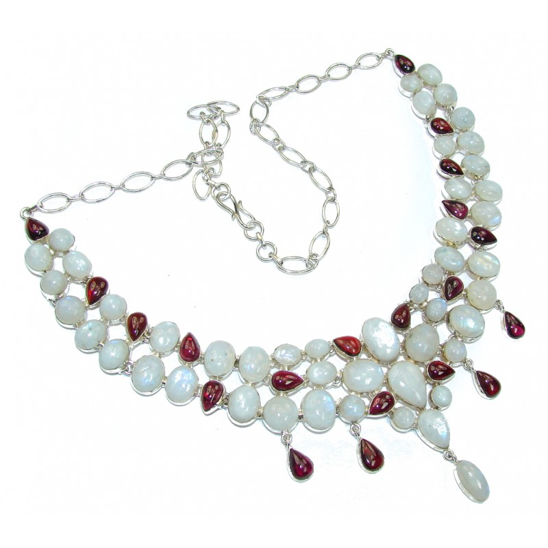 Chunky White Fire Moonstone & Tourmaline Sterling Silver necklace
