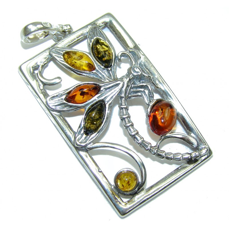 Natural Multicolor Baltic Polish Amber Sterling Silver Pendant