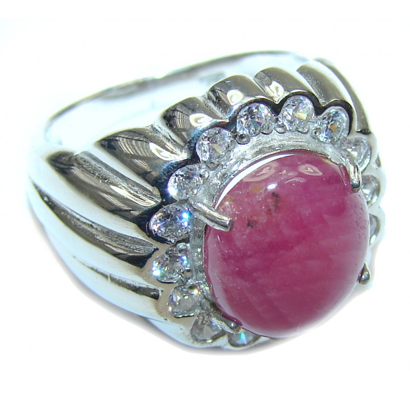 Stunning! Natural Pink Ruby & White Topaz Sterling Silver Ring s. 8